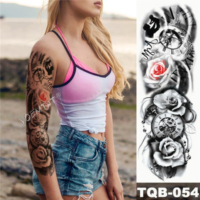 Large Arm Sleeve Temporary Waterproof Tattoo | Sketch Lion | Tiger | Wild Fierce Animal  | Unisex - Designed By Project Zero