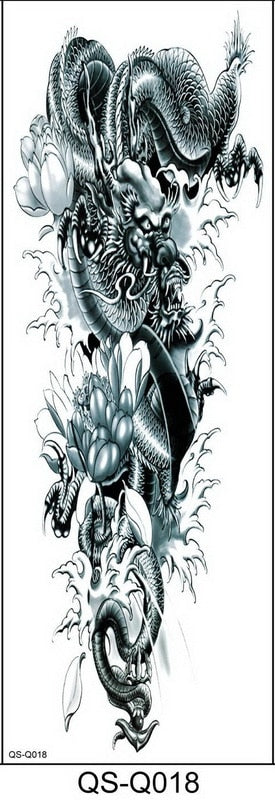 1PC NEW 48*17cm Full Flower Arm/Leg/Body Temporary Tattoo Sleeve Sticker | Fish Peacock Lotus - Designed By Kaito Sama
