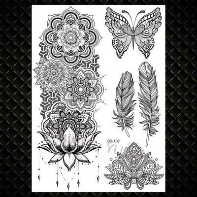 Sexy Black Feather | Mandala Flower Temporary Tattoos | Full Body | Fun - Designed By Grimjow Jack