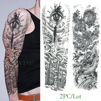 Waterproof Temporary Tattoo | Eye | Clock | Bird | Pagoda | Full Arm | Large Size | Various Designs Available - Designed By Gina G