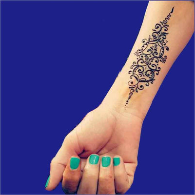 1 Piece Lotus Wrist/Hand/Body Black Henna Temporary Modern Tattoo - Designed By Kitson Kai