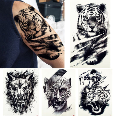 Big Black Tiger | Wolf | Lion | Leopard Waterproof Tattoos | Large Beast | Monster | Body | Arm | Legs - Designed By Tattoo King