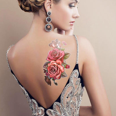 1PCS Temporary Waterproof Tattoos | Rose Flowers | Arm | Shoulder | Waist | Full Body Designed By Skull Crusher