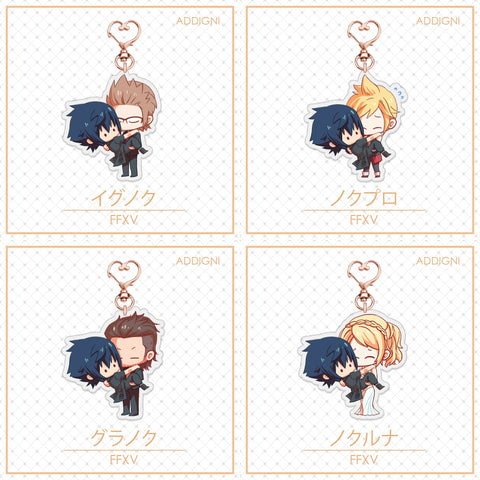 FFXV Charms: Noctis with Ignis, Gladio, Prompto, Luna