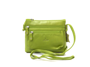 Green crossbody leather handbag front