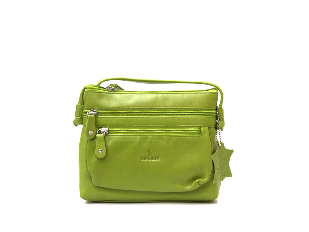 Green crossbody leather handbag front view