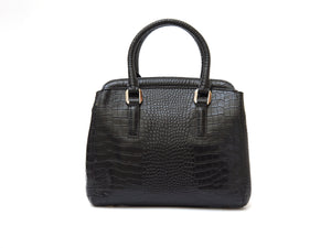 Black crocodile look leather handbag back