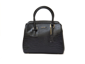Black crocodile look leather handbag front