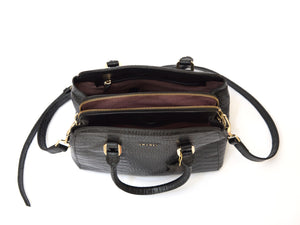 Black crocodile look leather handbag with long strap inside view