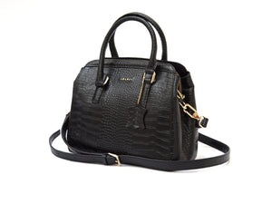 Black crocodile look leather handbag side view with long strap