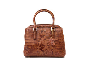 Brown crocodile look leather handbag front