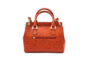 Orange ostrich look leather handbag, back view