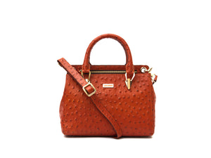 Orange ostrich look leather handbag, front view