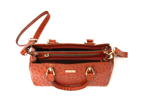 Orange ostrich look leather handbag, inside