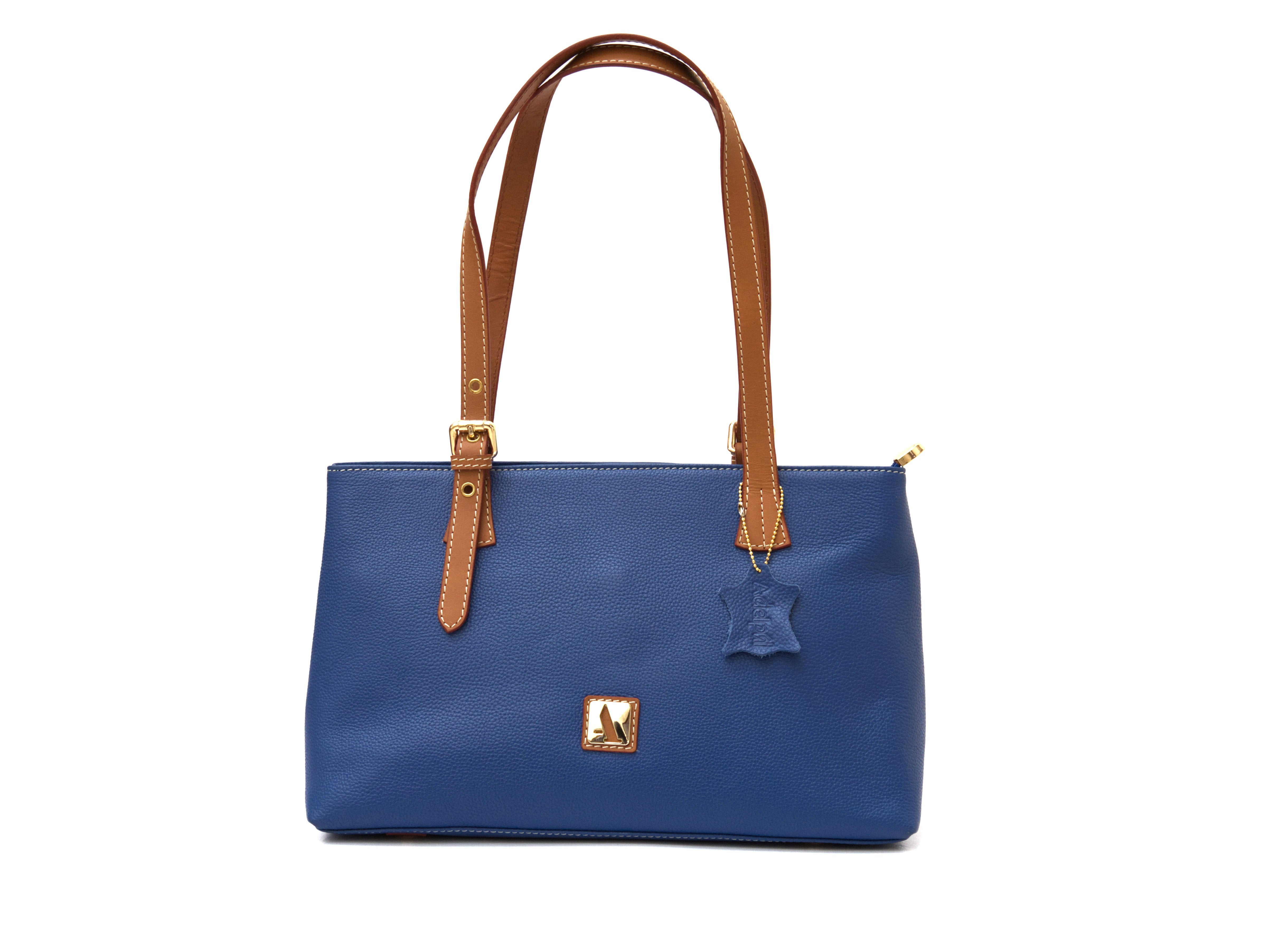 Blue small zippered tote with tan coloured straps for contrast, front view