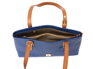 Blue small zippered tote with tan coloured straps for contrast, inside