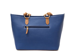 Blue zippered leather tote bag with tan straps, back