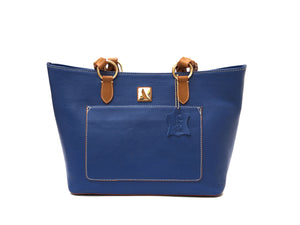 Blue zippered leather tote bag with tan straps, front