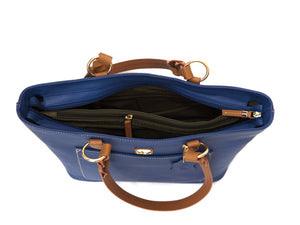 Blue zippered leather tote bag with tan straps, inside