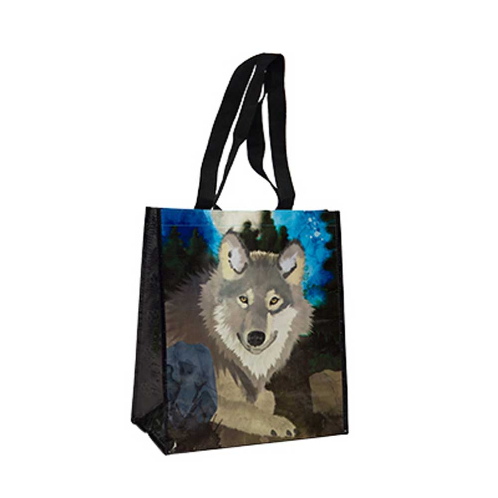 Wolf Recycled Watercolor Tote Bag