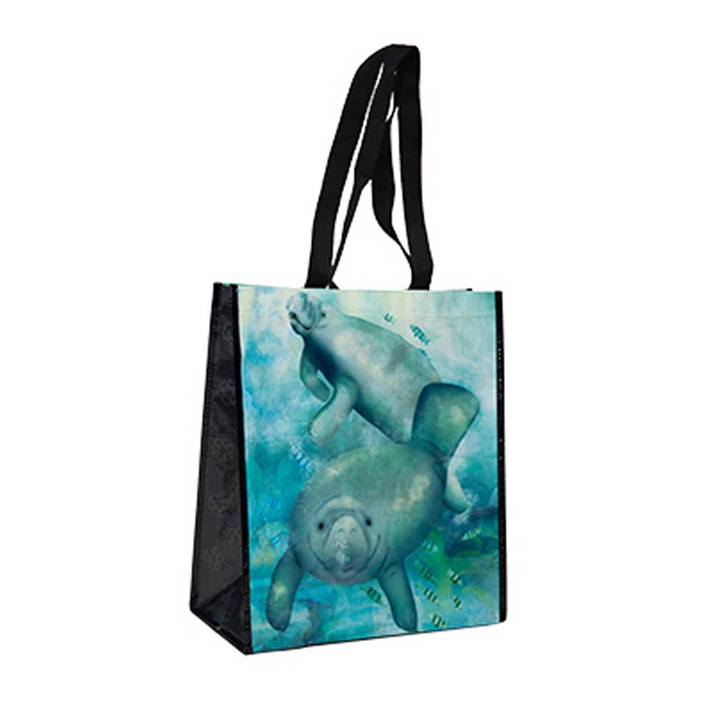 Manatee Recycled Watercolor Tote Bag