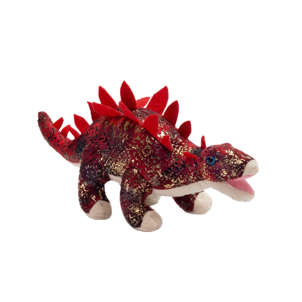 Stegosaurus in Red with Gold Glitter