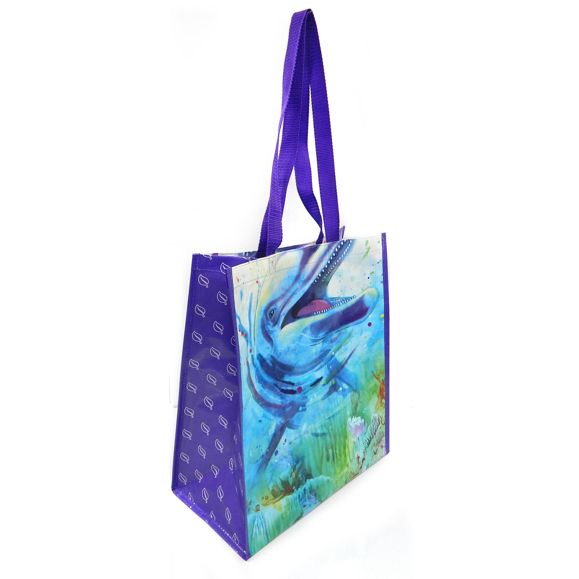 Dolphin Recycled Watercolor Tote Bag