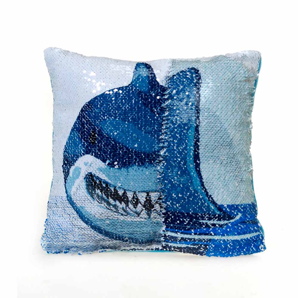 "12"" Sequin Pillow - Shark"