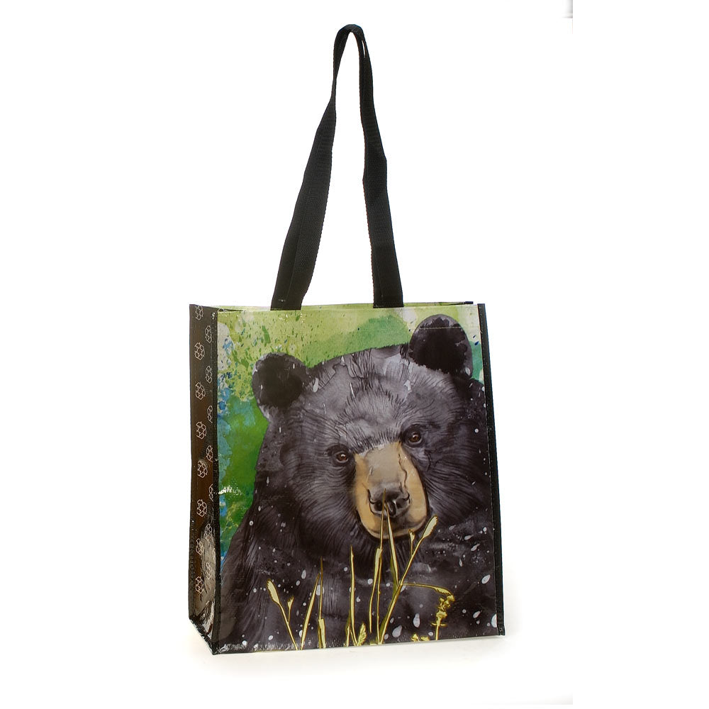Black Bear Recycled Watercolor Tote Bag