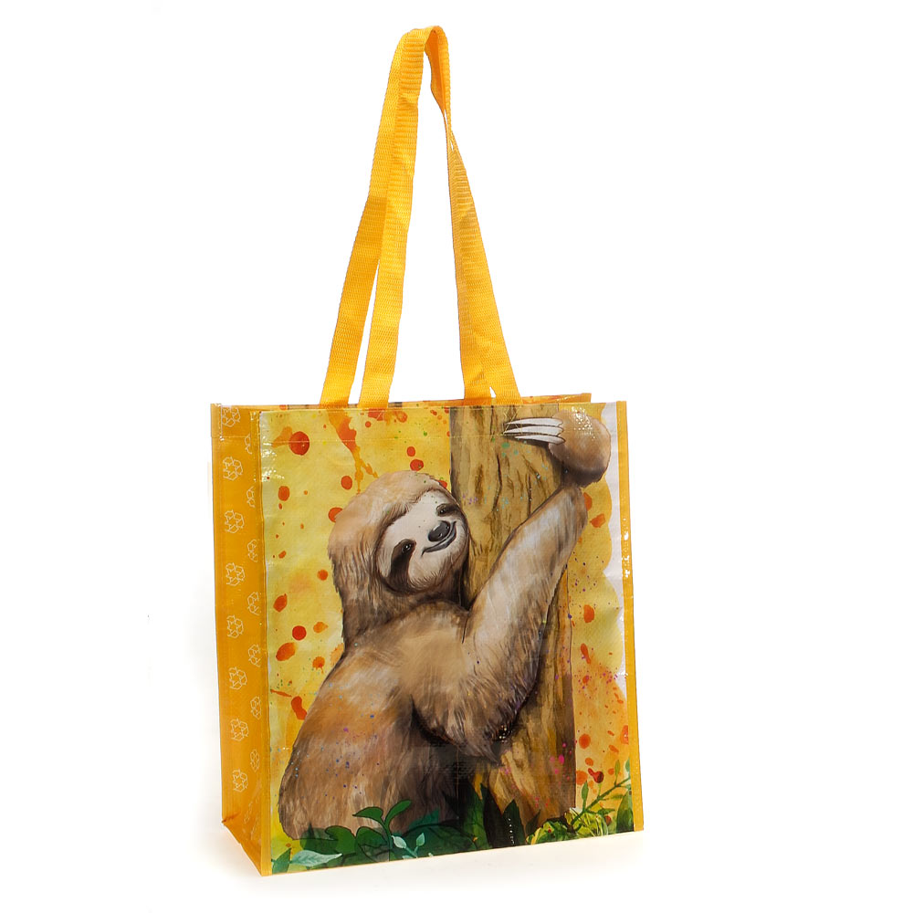 Sloth Recycled Watercolor Tote Bag