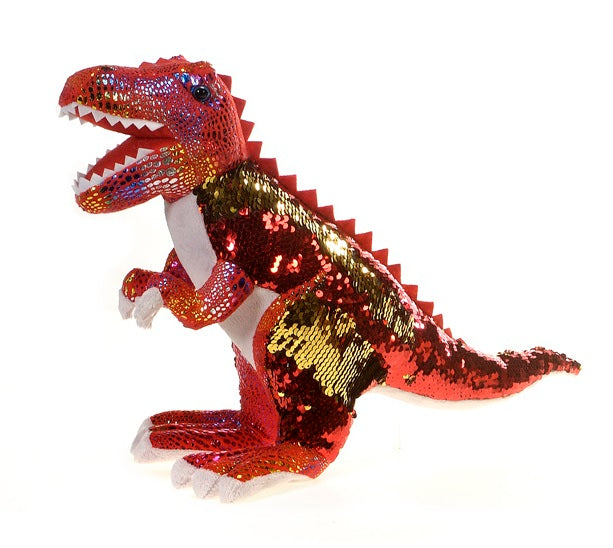 "18"" T-Rex in Red and Gold Sequin"