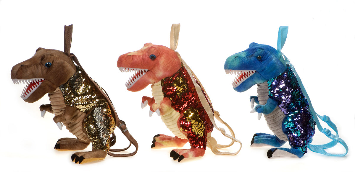 "14"" Sequin Dinosaur Backpacks"