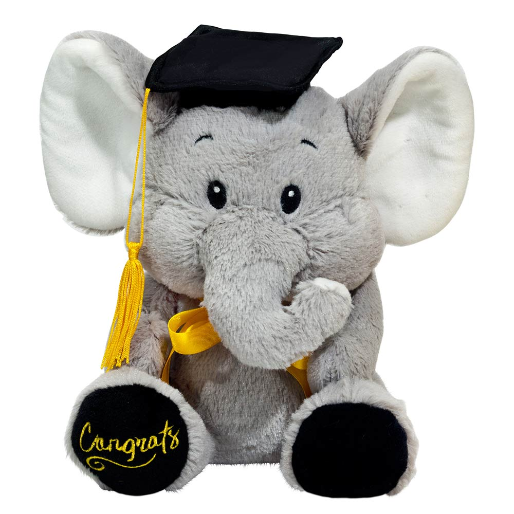 "8.5"" Elephant with Graduation Hat"