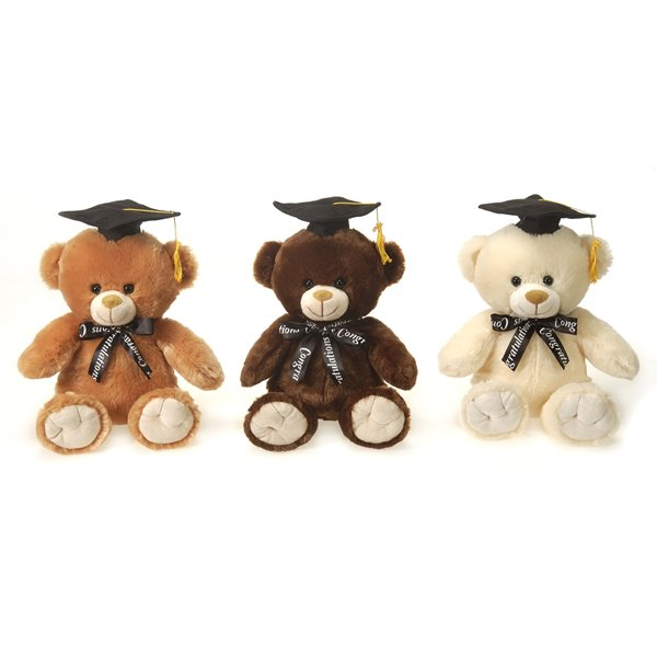 "9"" Graduation Bears with Ribbon"