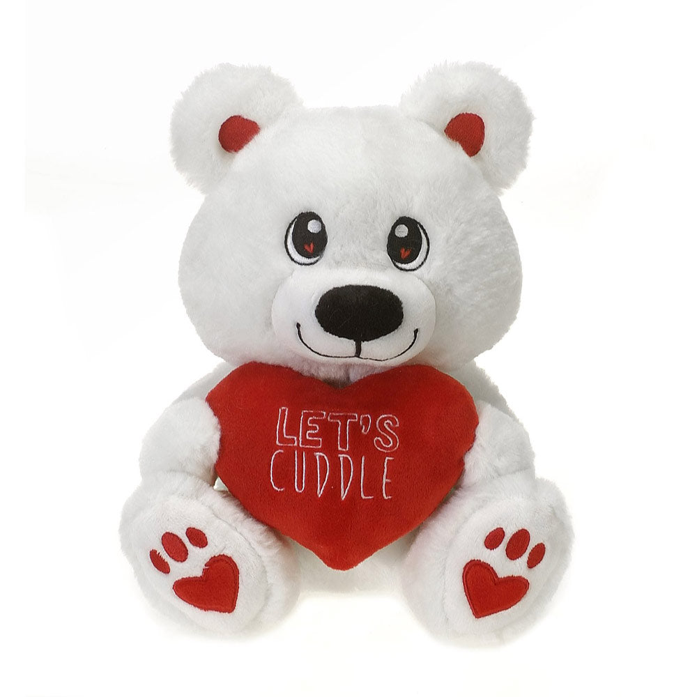 """Let's Cuddle"" Heart 9"" White Bear"