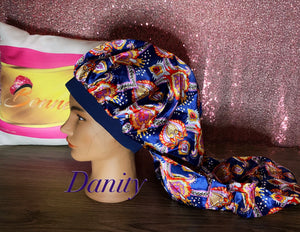 Extra long satin bonnets made for Locs,, Hair extentions and more.