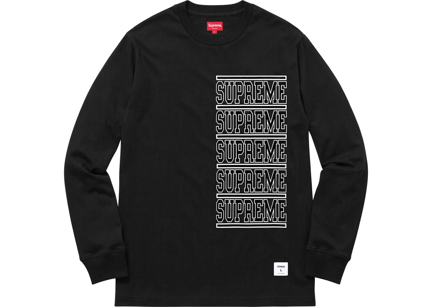 Supreme Stacked Long Sleeve Tee Black