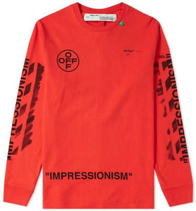 Off White Impressionism' Diag Stencil Long Sleeve Tee