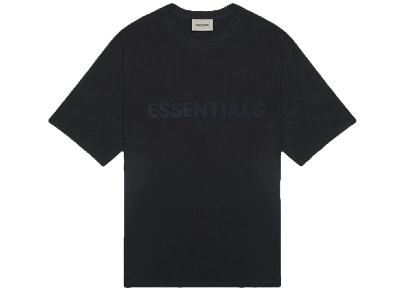Essentials Black on Washed Black Logo Tee