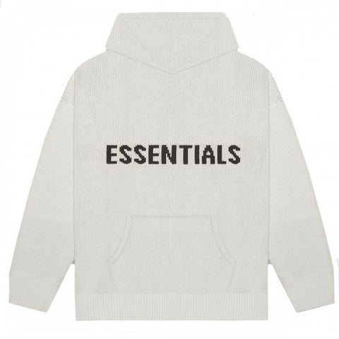 Essentials Black on Oatmeal Knit Hoodie