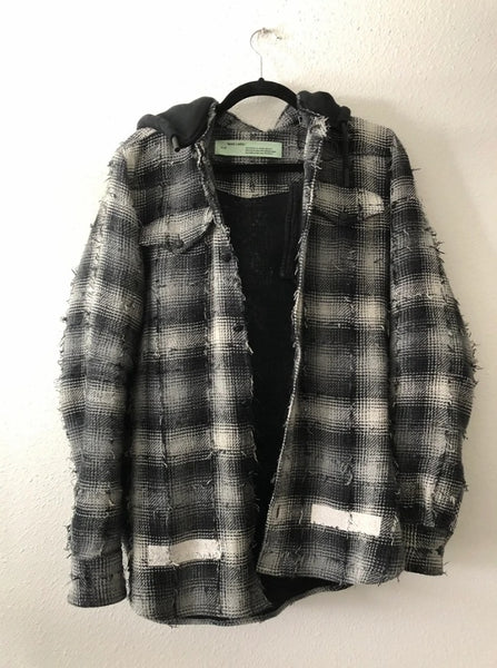 Off-White Distressed Flannel Hoodie