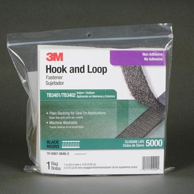 3M Electronics TB3401-TB3402 Cable Ties HOOK-LOOP FSTNR BLK 1 IN X 10 FT NON-ADH - WAVE-AudioVideoElectric