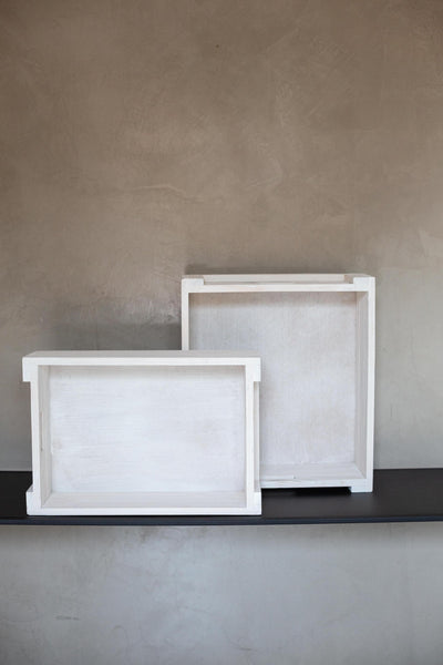 White Wash Wooden Boxes