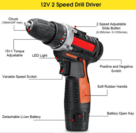 Raitool 12V Cordless Power Drill with Rechargeable Lithium Battery