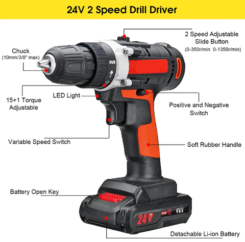 Raitool 24V Cordless Power Drill with Rechargeable Lithium Battery
