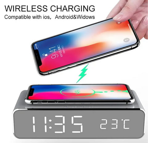 USB Digital LED Desk Alarm Clock With Thermometer Wireless Charger