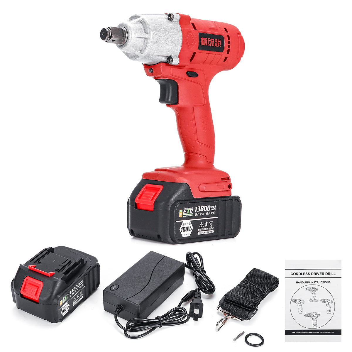 108VF 13800mAh 320NM Cordless High Torque Electric Wrench Driver