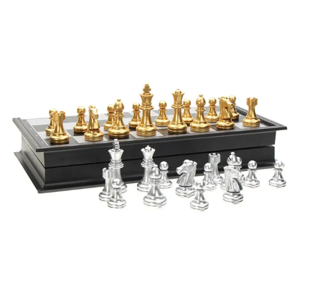 Foldable Chess Board Game Set With Silver Gold Pieces