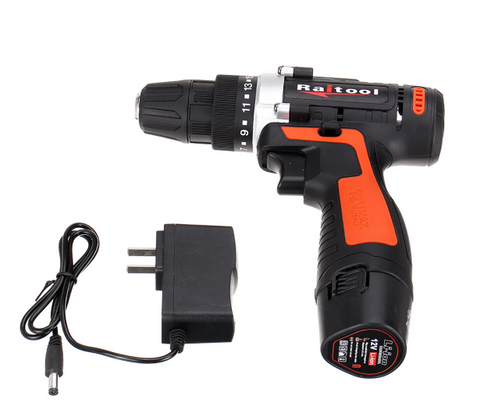 Raitool 12V Cordless Power Drill with Rechargeable 2 Lithium Battery
