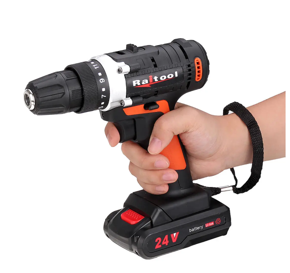 Raitool 12V/24V Cordless Power Drill with Rechargeable Lithium Battery
